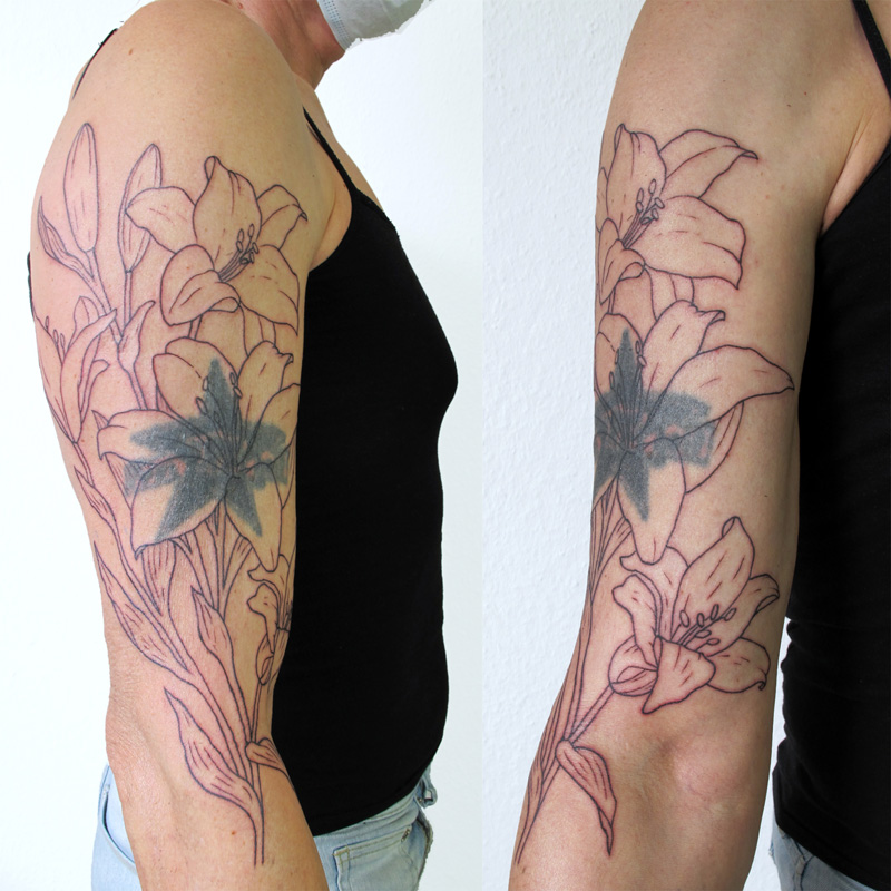 Start of a cover-up tattoo. Lilly tattoo, botanical tattoo
