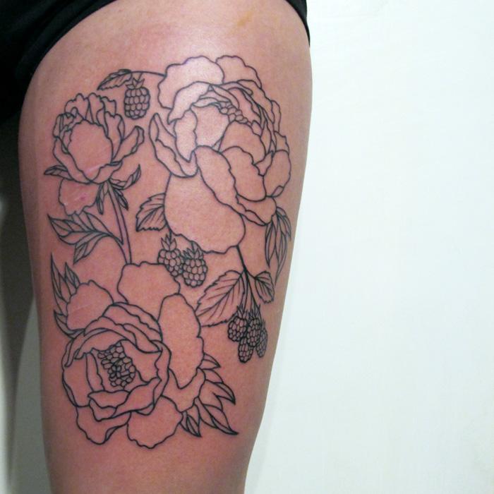 large peony and raspberry lineweork tattoo