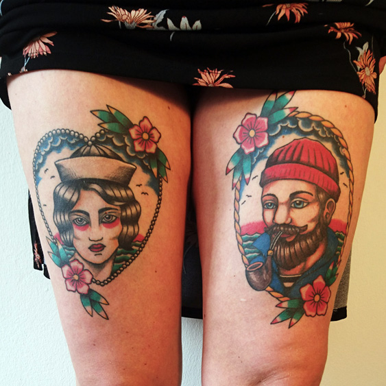 Colorful tattoo of potraits of grandparents of my client.