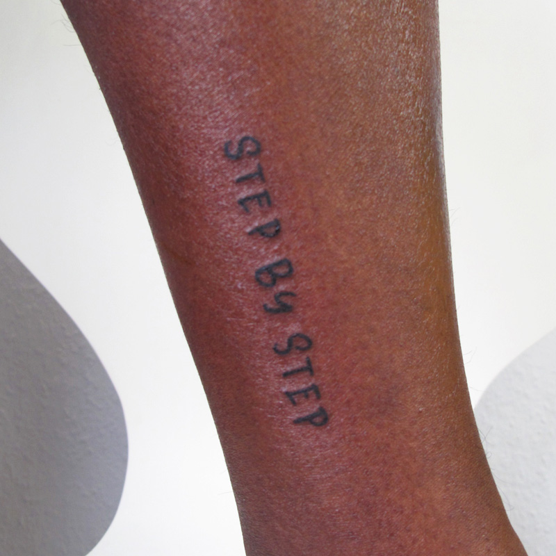 Step by step handlettering tattoo, small in black
