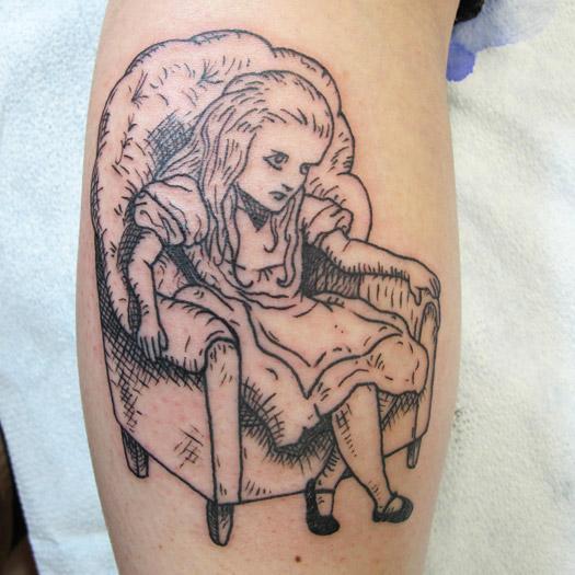 Classic book illustration tattoo of Alice in Wonderland lineworktattoo and woodcuttattoo style