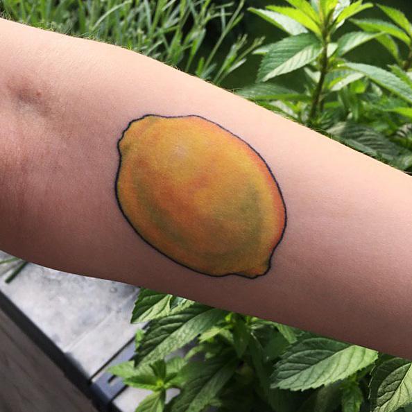 colorful lemon tattoo healed, botanical tattoo